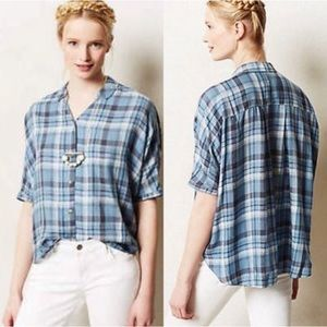 Holding Horses Halsey Plaid Button Down Boxy Top